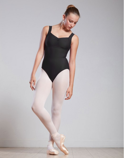 Large straps leotard with gather - GIRLS GATHERED FRONT LEOTARD WITH LARGE STRAPS - MICHA JR